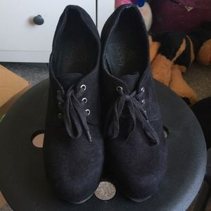 Shoes - Black Poppy bootie wedges